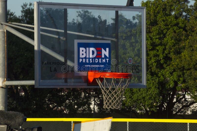 美国副总统拜登星期二在鲍德温山体育中心发表超级胜利演讲 免版税库存照片