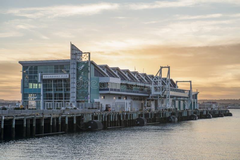 美国加利福尼亚州圣地亚哥市的日落 免版税库存图片