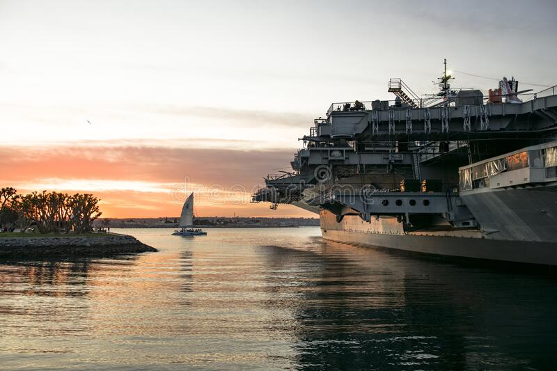 美国加利福尼亚州圣地亚哥市的日落 库存照片
