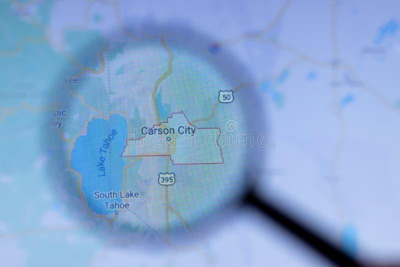 美国加利福尼亚州洛杉矶 — 2020年5月1日:地图特写位置卡森城名 免版税库存照片