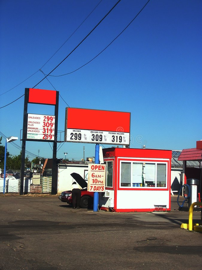 美国加油站 库存图片