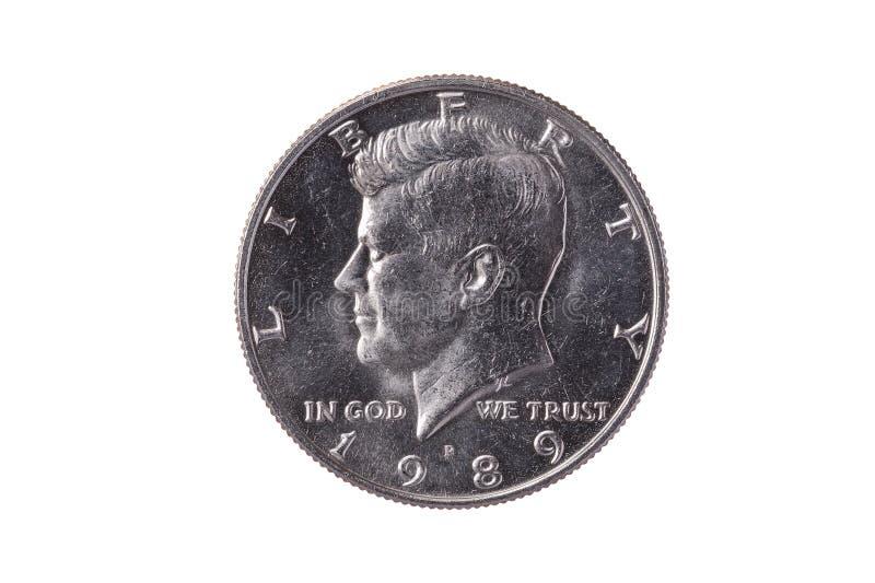 美国半元五分硬币约翰・肯尼迪总统 图库摄影