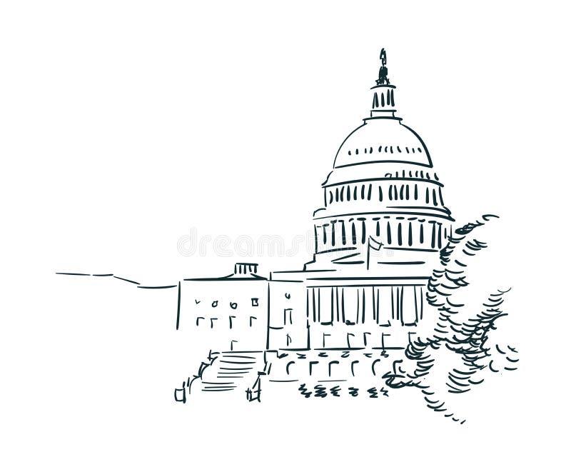 美国华盛顿剪影传染媒介城市分界线艺术 库存例证