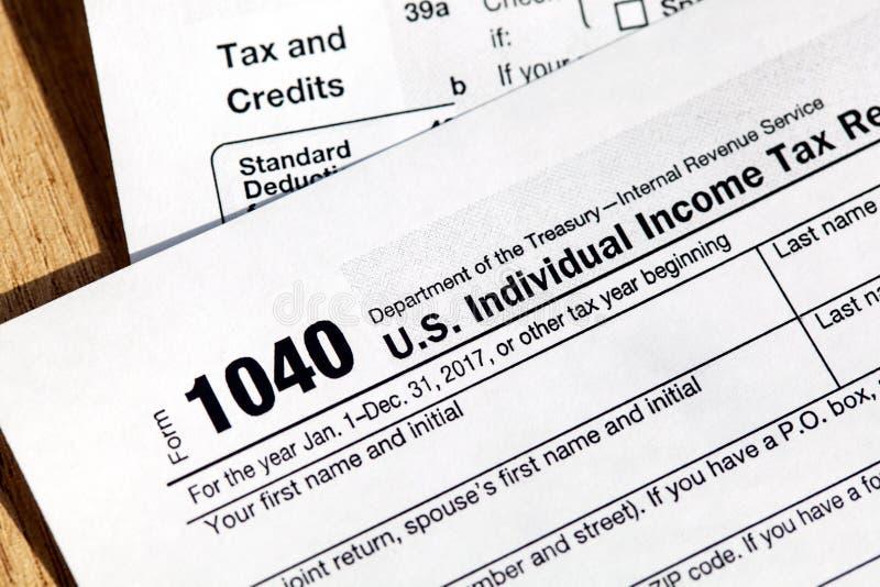 美国单独纳税申报的报税表1040 免版税库存图片