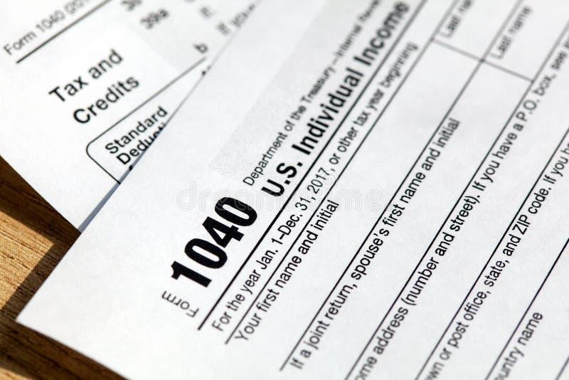 美国单独纳税申报的报税表1040 图库摄影