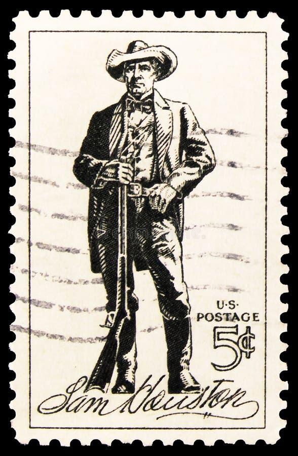美国印制的邮票显示,约1964年,萨姆·休斯顿,意大利意 图库摄影