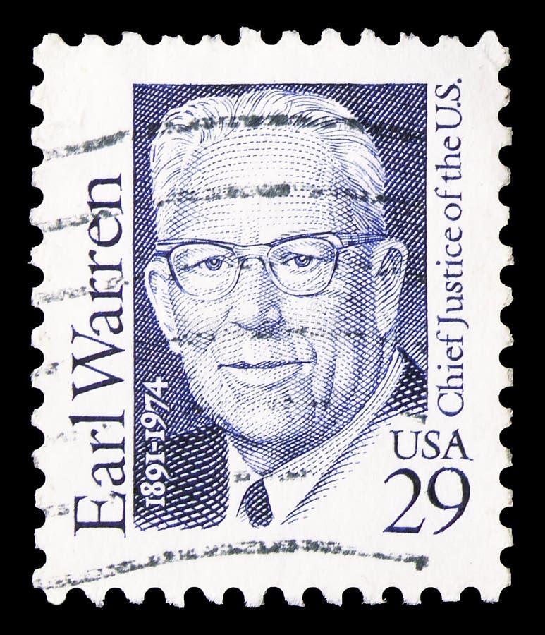 美国印刷的邮票显示,Earl Warren,意,29 c - United Cent, Great Americans,大约1992年 免版税库存图片