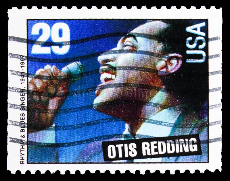 美国印刷的邮票显示,Otis Redding,美国音乐系,大约1993年 库存图片