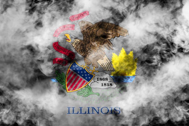 美国各州伊利诺伊的国旗反对一股灰色烟的在不同颜色的独立的那天蓝色红色和 库存例证