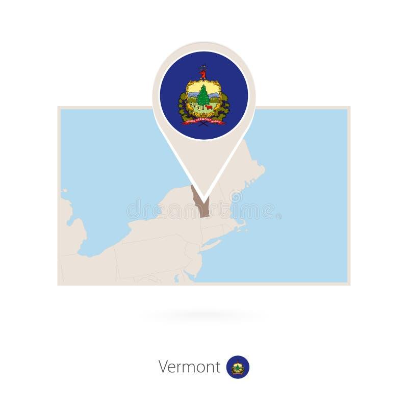 美国各州佛蒙特长方形地图与佛蒙特的别针象的 库存例证