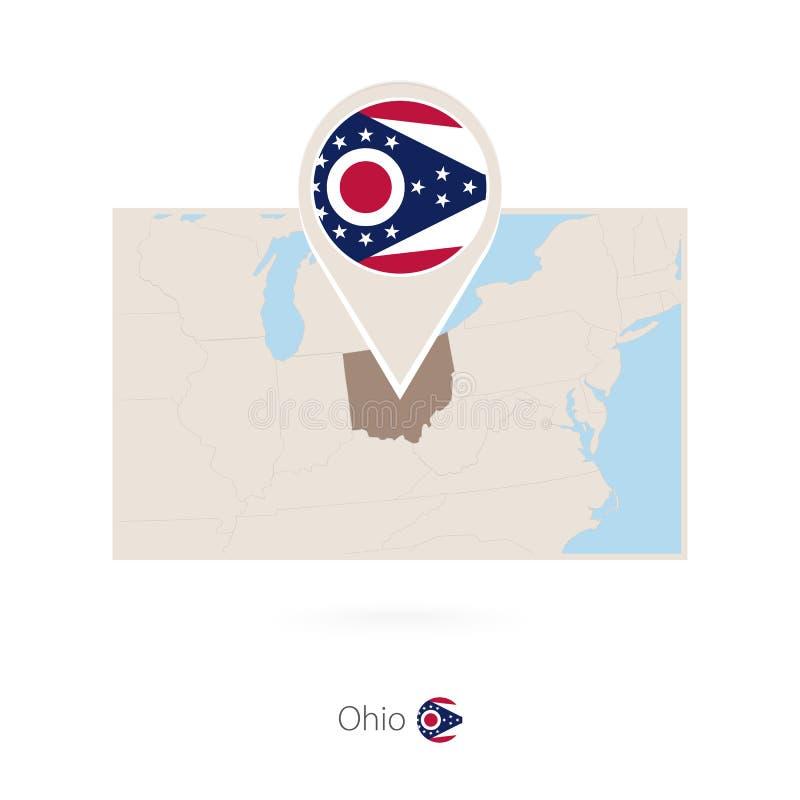 美国各州俄亥俄长方形地图与俄亥俄的别针象的 皇族释放例证