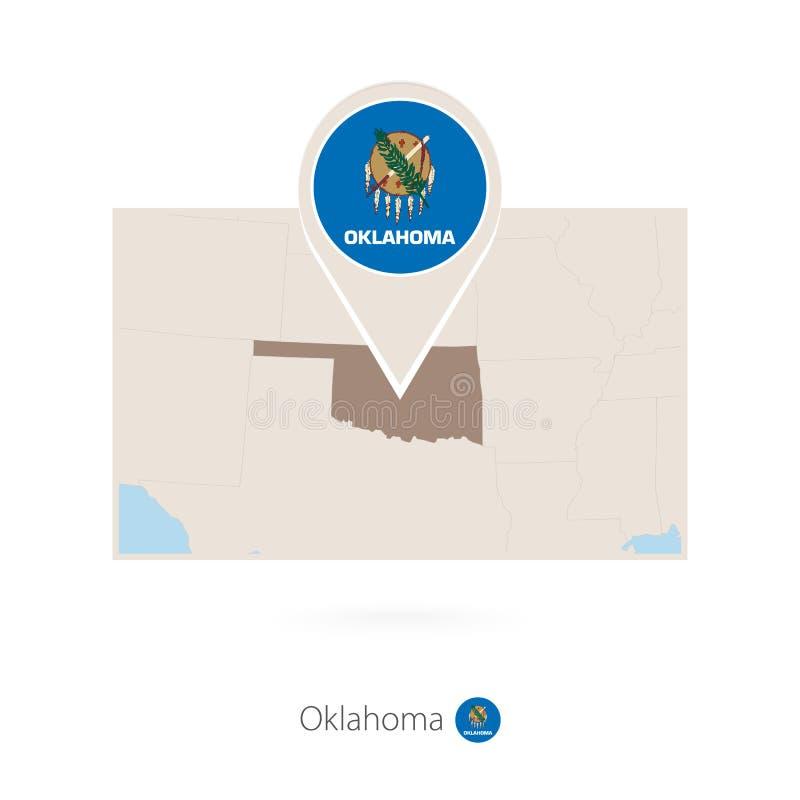 美国各州俄克拉何马长方形地图与俄克拉何马别针象的  向量例证