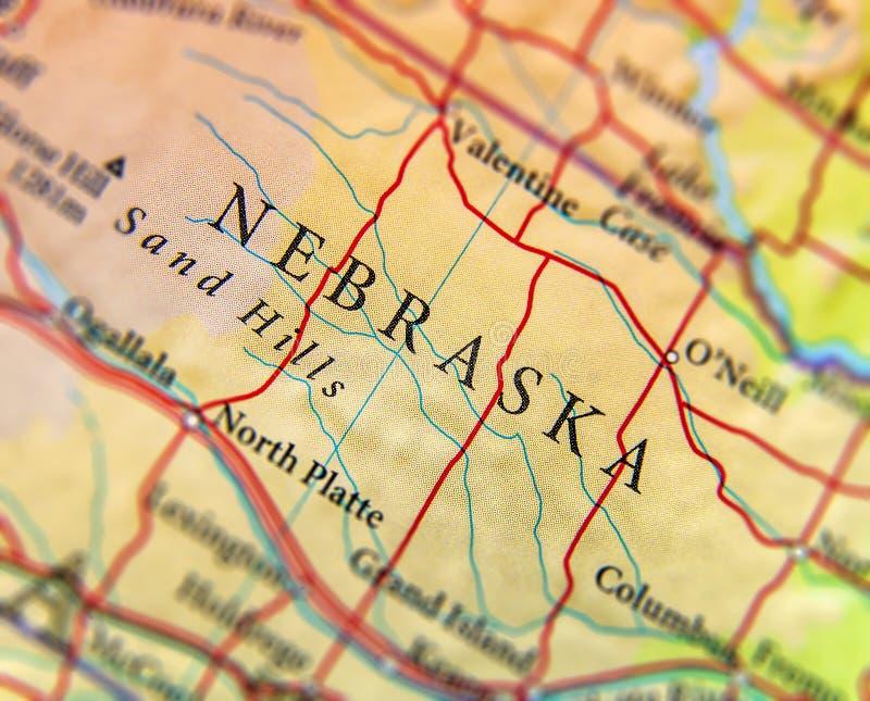 美国各州内布拉斯加地理地图与重要城市的 库存照片