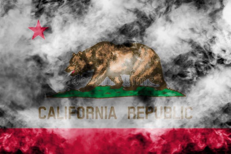 美国各州加利福尼亚的国旗反对一股灰色烟的在蓝色红色不同颜色的独立的那天  库存例证