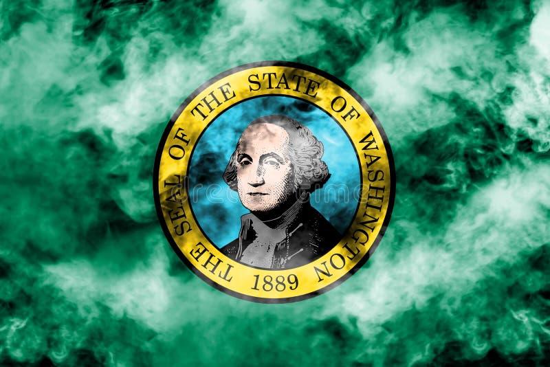 美国各州华盛顿的国旗反对一股灰色烟的在蓝色红色不同颜色的独立的那天  向量例证