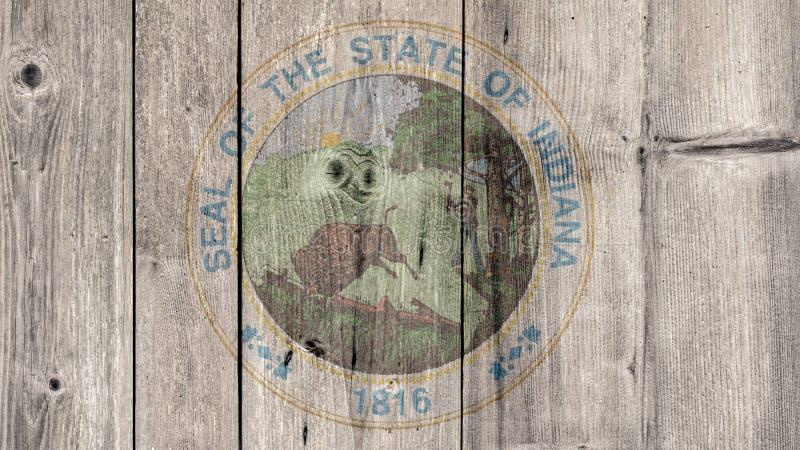 美国各州印第安纳封印木篱芭 免版税库存照片