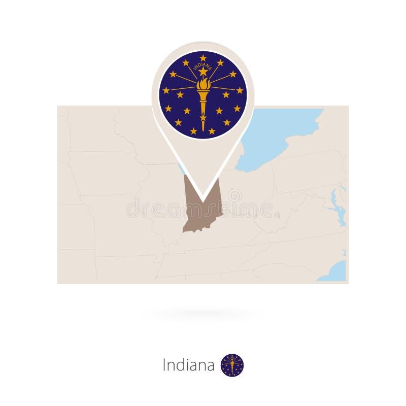 美国各州印第安纳长方形地图与印第安纳的别针象的 皇族释放例证
