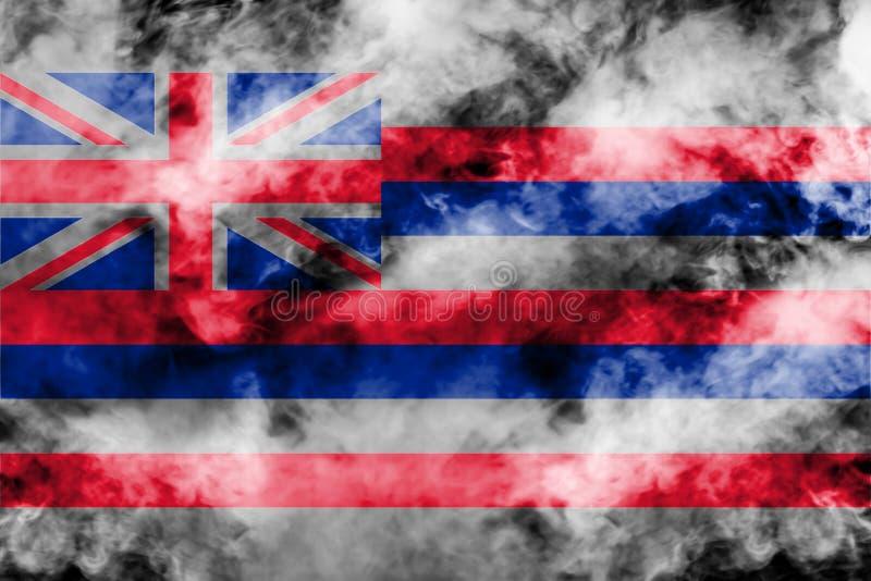 美国各州夏威夷的国旗反对一股灰色烟的在不同颜色的独立的那天蓝色红色和 皇族释放例证