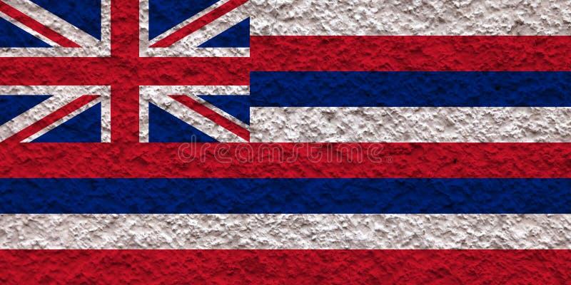 美国各州夏威夷的国旗对有石表面的灰色墙壁在蓝色红色的颜色的独立的那天 库存照片
