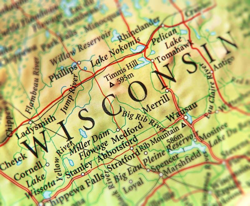 美国各州威斯康辛地理地图与重要城市的 库存图片