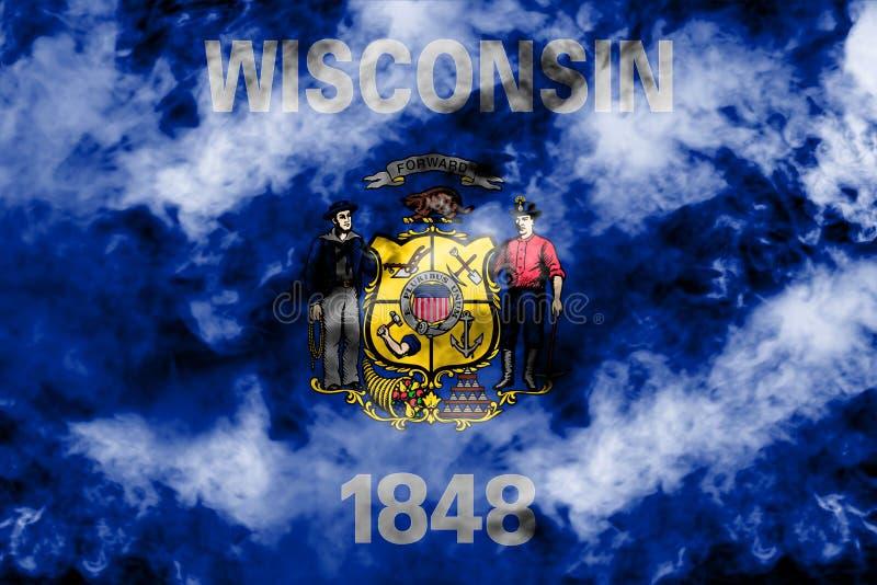 美国各州威斯康辛的国旗反对一股灰色烟的在不同颜色的独立的那天蓝色红色和 皇族释放例证