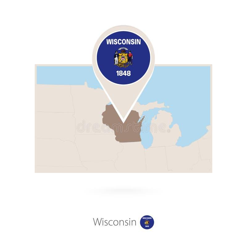 美国各州威斯康辛长方形地图与威斯康辛别针象的  向量例证