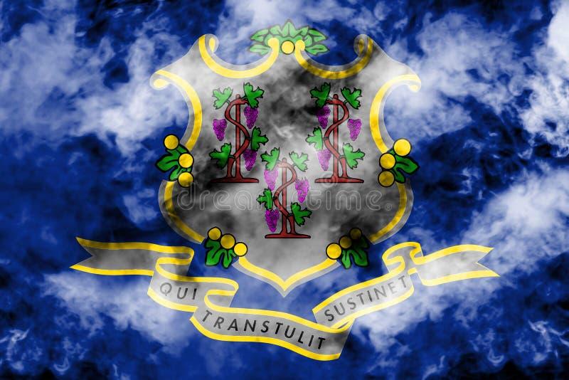 美国各州康涅狄格的国旗反对一股灰色烟的在蓝色红色不同颜色的独立的那天  库存例证