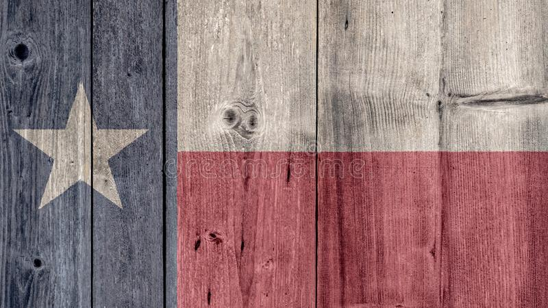 美国各州得克萨斯旗子木篱芭 免版税库存图片