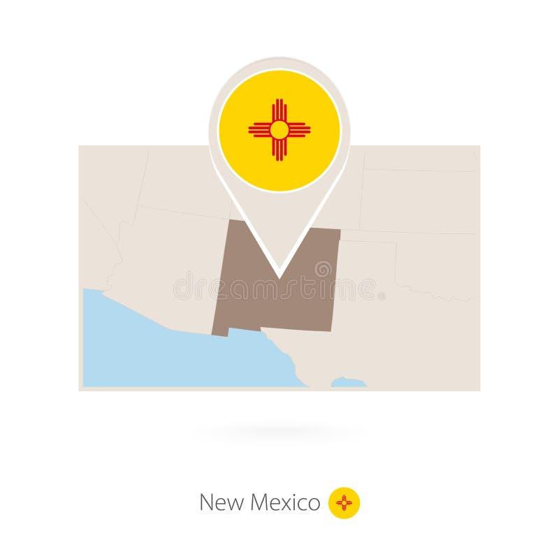 美国各州新墨西哥长方形地图与新墨西哥的别针象的 皇族释放例证