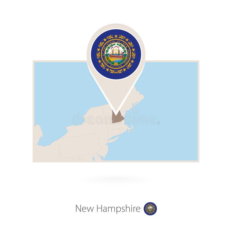 美国各州新罕布什尔长方形地图与新罕布什尔的别针象的 皇族释放例证