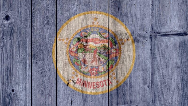 美国各州明尼苏达旗子木篱芭 图库摄影