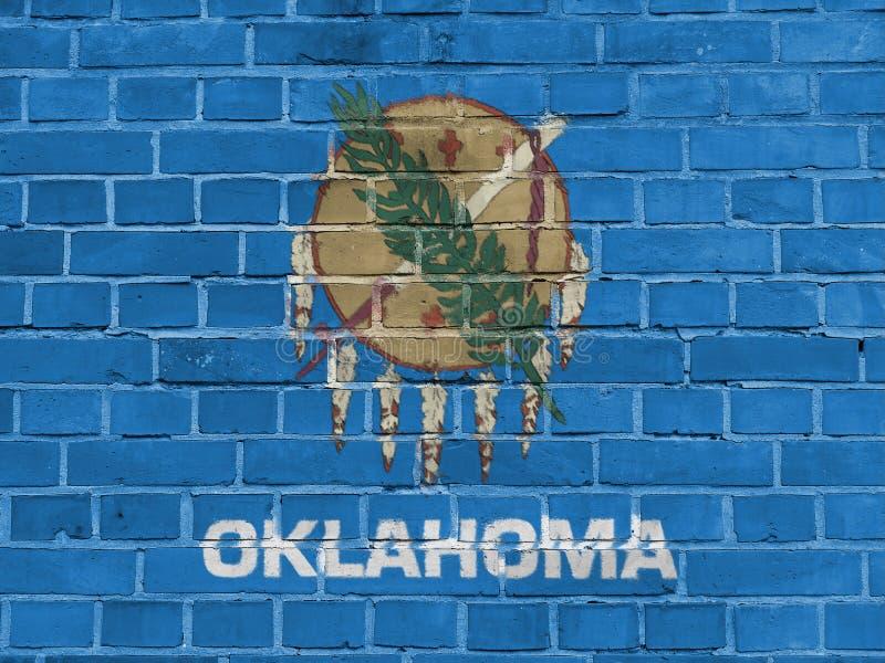 美国各州概念:俄克拉何马旗子墙壁 库存例证