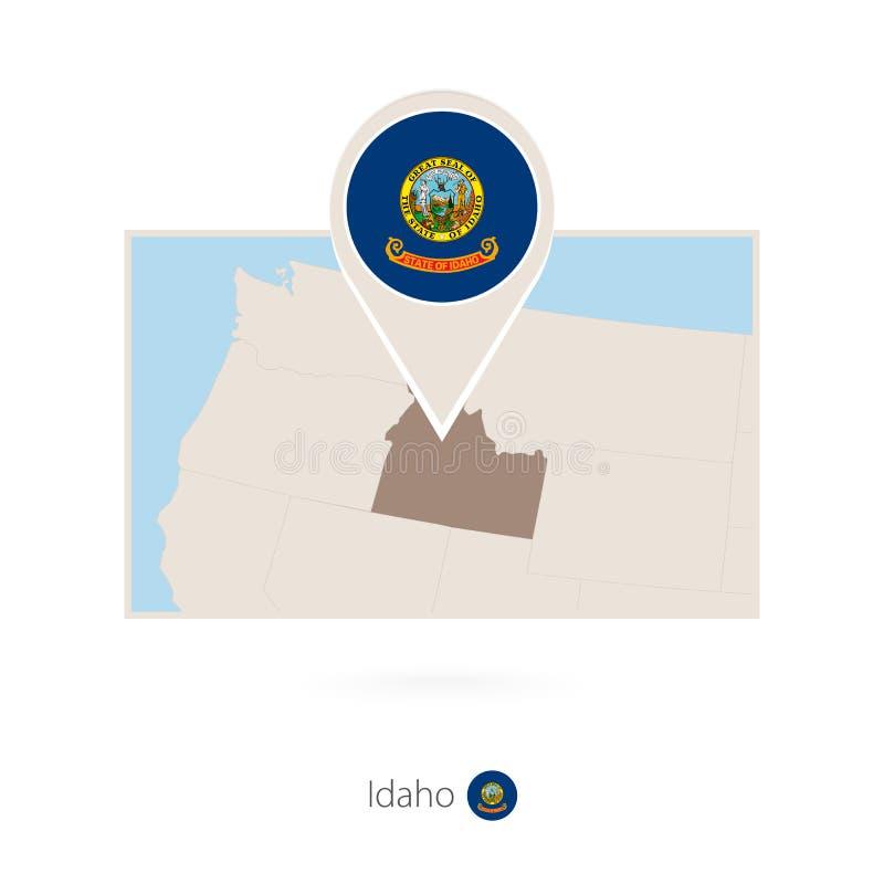 美国各州爱达荷长方形地图与爱达荷的别针象的 库存例证