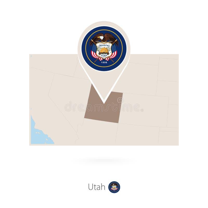 美国各州犹他长方形地图与犹他的别针象的 皇族释放例证