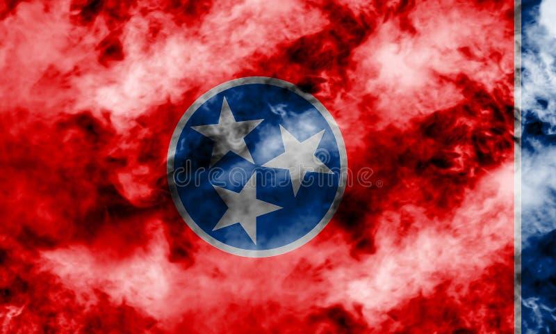 美国各州田纳西的国旗反对一股灰色烟的在不同颜色的独立的那天蓝色红色和 向量例证