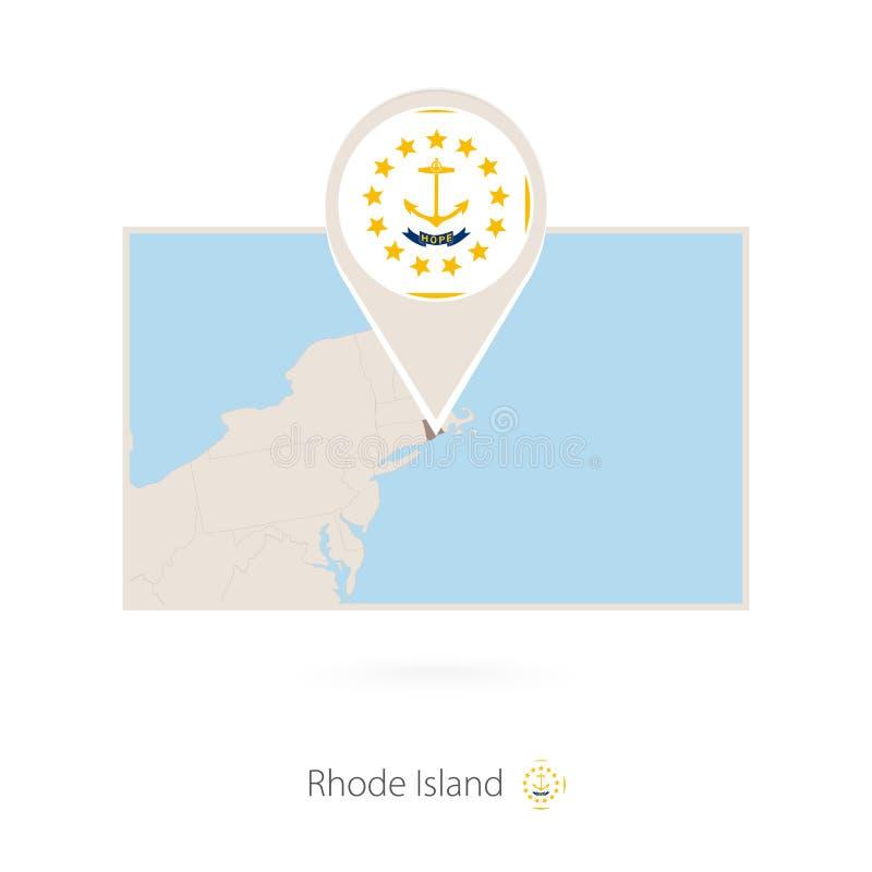 美国各州罗德岛长方形地图与罗德岛的别针象的 库存例证