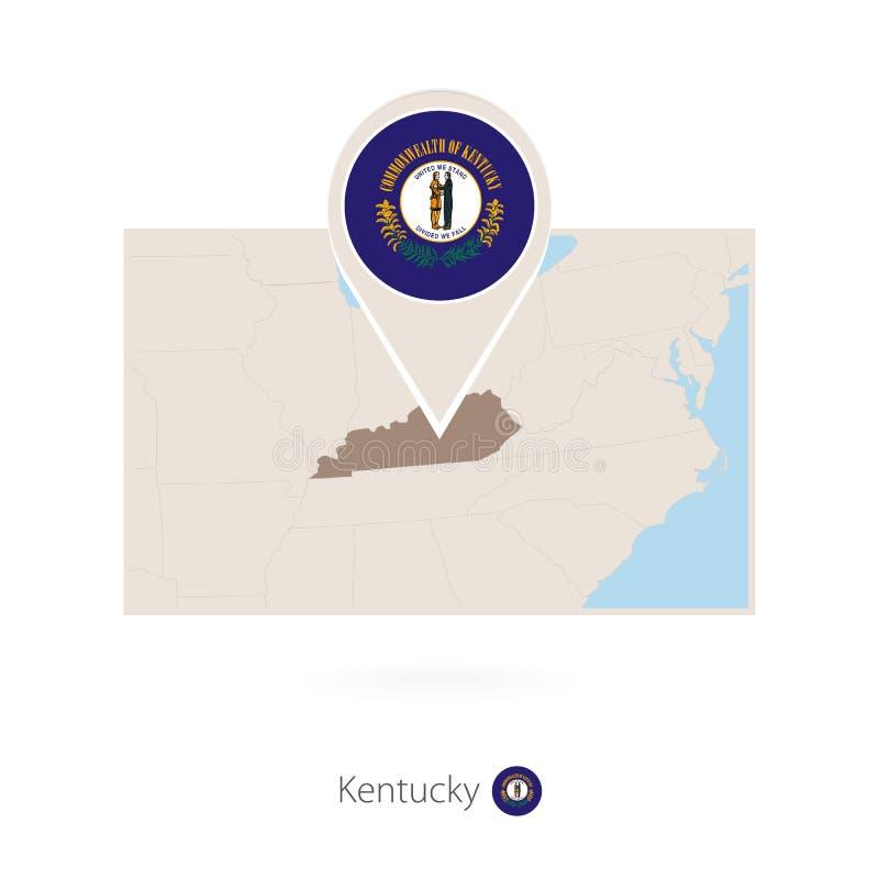 美国各州肯塔基长方形地图与肯塔基的别针象的 库存例证