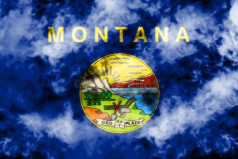美国各州蒙大拿的国旗反对一股灰色烟的在不同颜色的独立的那天蓝色红色和 皇族释放例证
