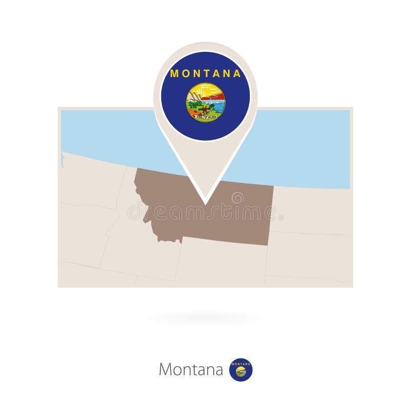美国各州蒙大拿长方形地图与蒙大拿的别针象的 向量例证