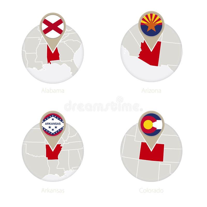 美国各州阿拉巴马,亚利桑那、阿肯色,科罗拉多地图和旗子在圈子 皇族释放例证