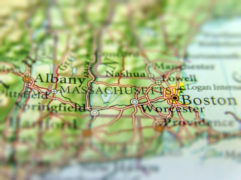 美国各州马萨诸塞和波士顿市地理地图  库存照片
