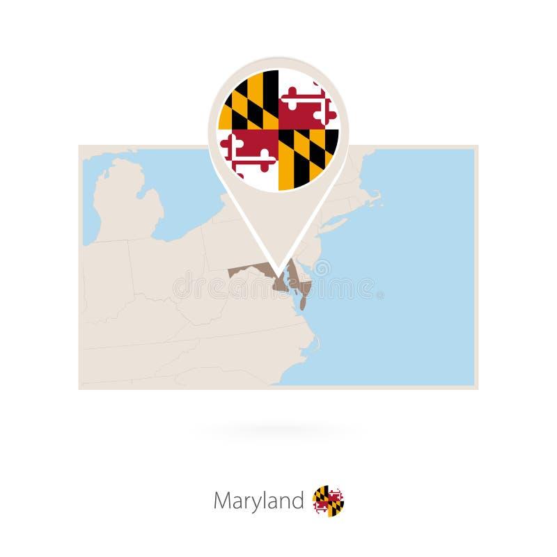 美国各州马里兰长方形地图与马里兰别针象的  库存例证