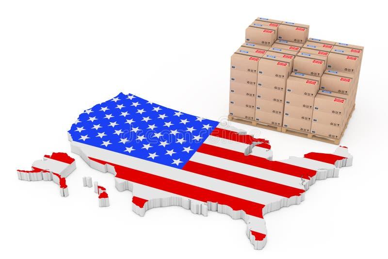 美国后勤学概念 在近一个木调色板的纸板箱 向量例证