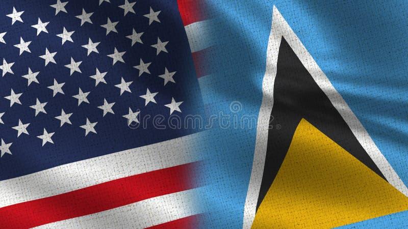 美国和一起圣卢西亚现实半旗子 库存例证
