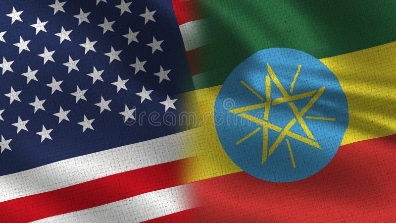 美国和一起埃塞俄比亚现实半旗子 皇族释放例证