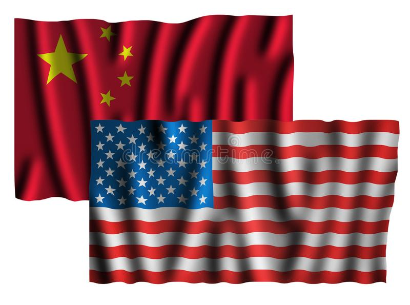 美国和中国冲突概念与被隔绝的旗子 皇族释放例证
