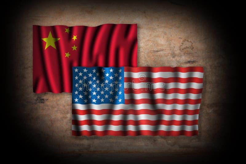 美国和中国冲突概念象征与旗子难看的东西 库存例证