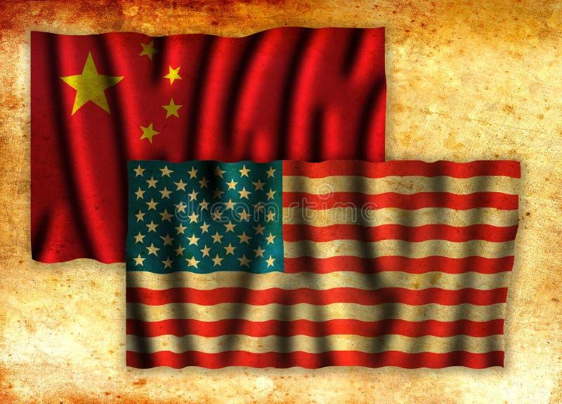 美国和中国冲突概念象征与旗子难看的东西 皇族释放例证