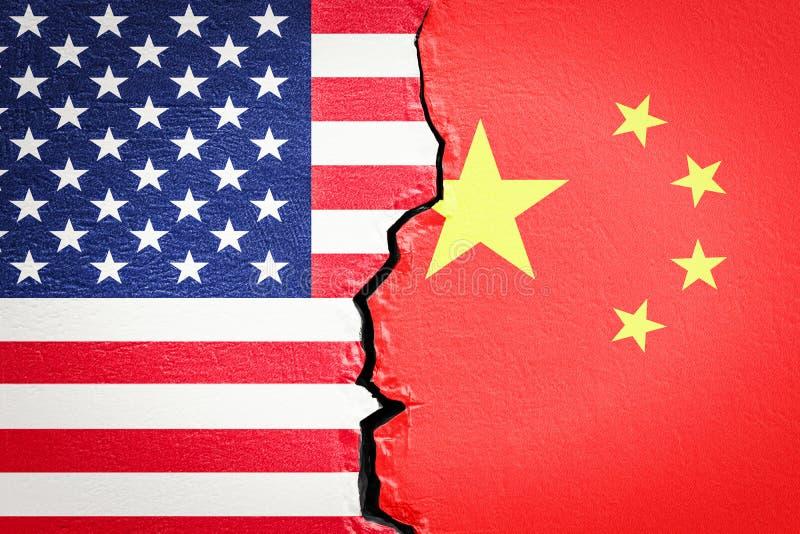 美国和中国冲突概念, 3D 向量例证
