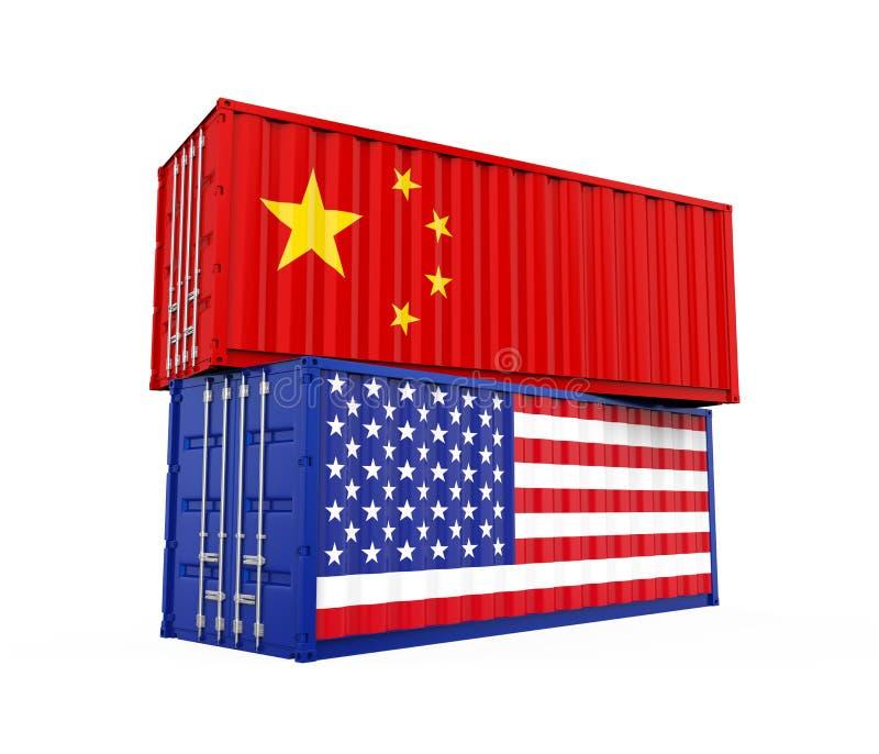 美国和中国被隔绝的货箱 贸易战概念 皇族释放例证